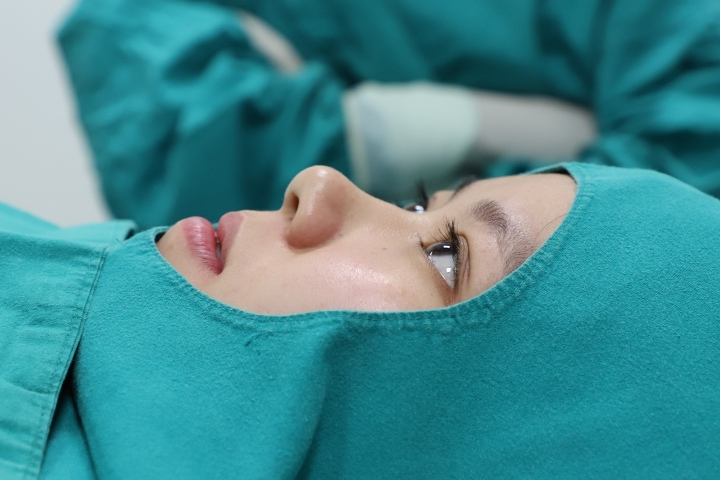Before rhinoplasty, front view