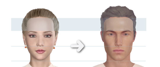 The difference between males and female face